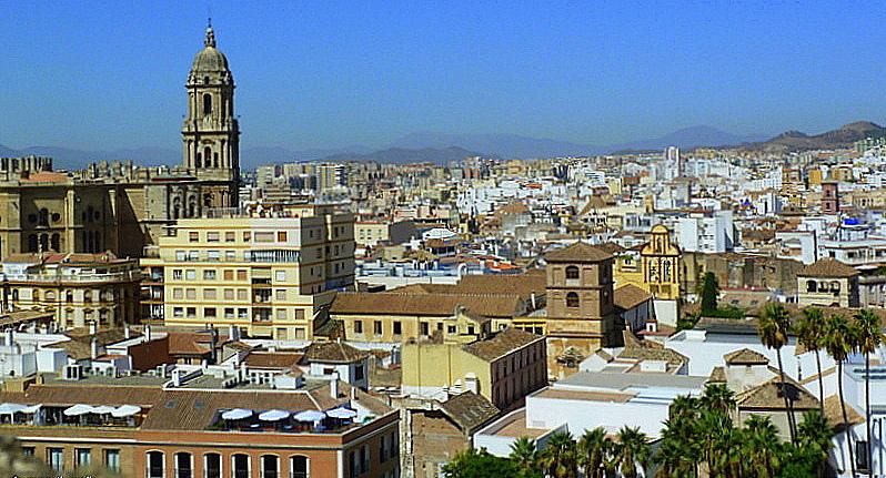 Malaga cathedral and city